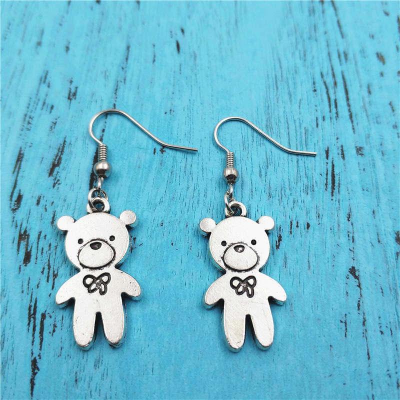 Teddy Bear Animal Charm Earrings,Vintage Fashion Jewelry Women Christmas Birthday Gifts Accessories Pendants Zinc Alloy