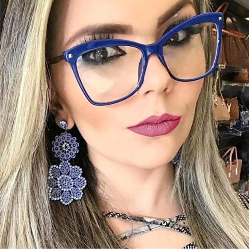 New Luxury Brand Blue Clear Lens Cat Eye Glasses Frame Women 2020 Fashion Vintage Square TR90 Eyeglasses Frame For Female Shades