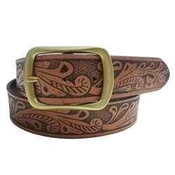 Couro vegetal curtido cinto de couro com fivela de bronze soild teste padrão de flor em relevo marrom cowboy ocidental grande cintura