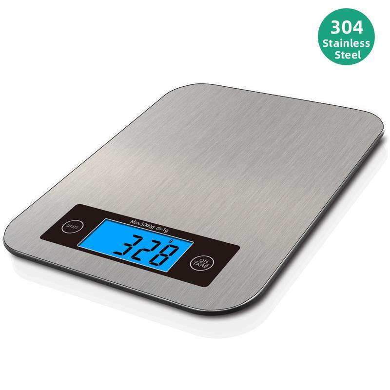 Электронные кухонные весы, точный Высокоточный безмен из нержавеющей стали с ЖК-дисплеем и синей подсветкой, 1 г, для выпечки