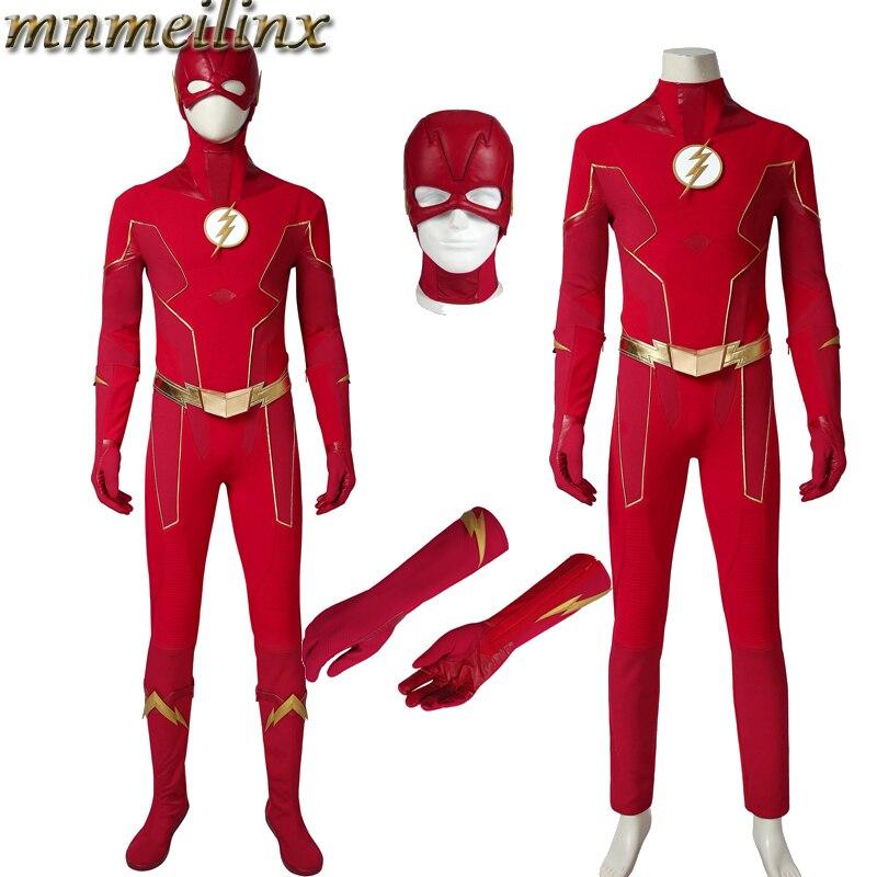 2019 nueva llegada la temporada de Flash 6 traje de Cosplay de Barry Allen traje de superhéroe traje de Halloween conjunto de máscara y zapatos