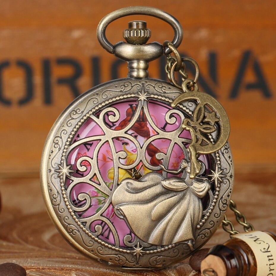 Fée danse belle princesse Quartz montre de poche exquis collier Bronze collier montre pour fille femmes avec ange accessoire