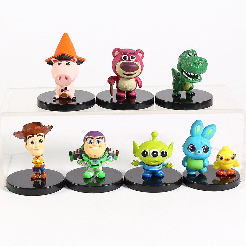 Cosbaby Toy Story Woody Buzz Lightyear 4 Losto Patinho Coelho Rex Alienígena Hamm Mini PVC Figuras Brinquedos Colecionáveis 7 pçs/set