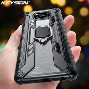 KEYSION прозрачный противоударный защитный чехол для Xiaomi POCO X3 NFC M2 Pro Ring Stand, задняя крышка для телефона POCO X3 NFC X2 F2 Pro