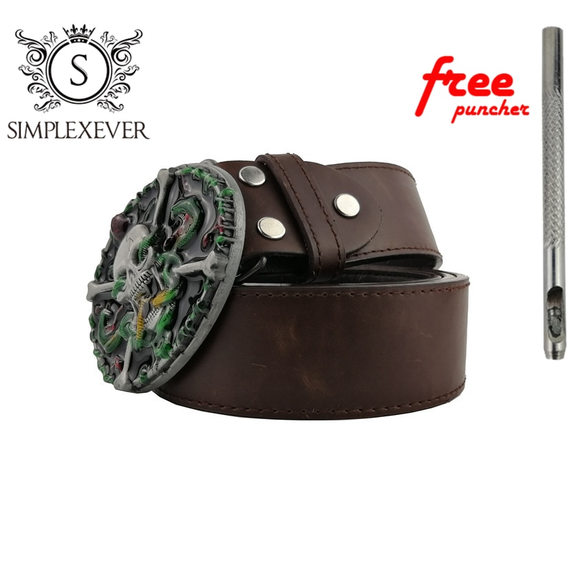 Ghost Pattern Zinc Alloy Skull Belt Buckle for Men Silver Metal Belt Buckle with Leather Belt As New Year Gifts fashionable rhombic pattern buckle faux leather belt for men