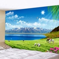 mountain scenery tapestry glowing psychedelic wall hanging anime wolf tapestry boho home decor art wall cloth fabric large size