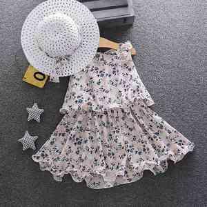 dark blue Summer new Korean style toddler girls floral dress with sun hat baby girls Chiffon dress 111