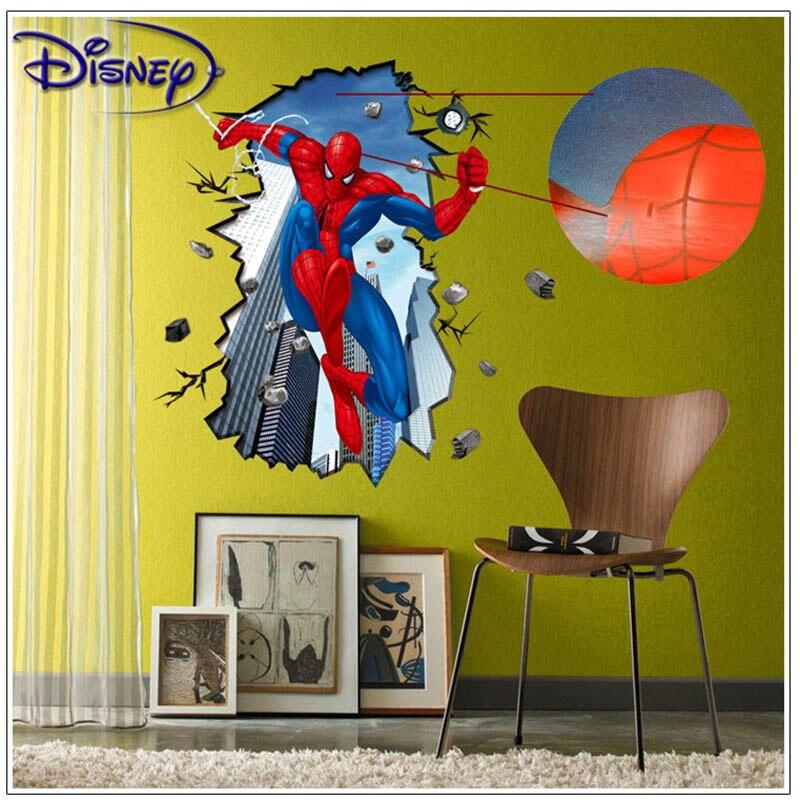 Pegatinas de pared de Spiderman en 3D para niños, calcomanía de pared extraíble pósteres de película de dibujos animados pósteres para decorar el hogar