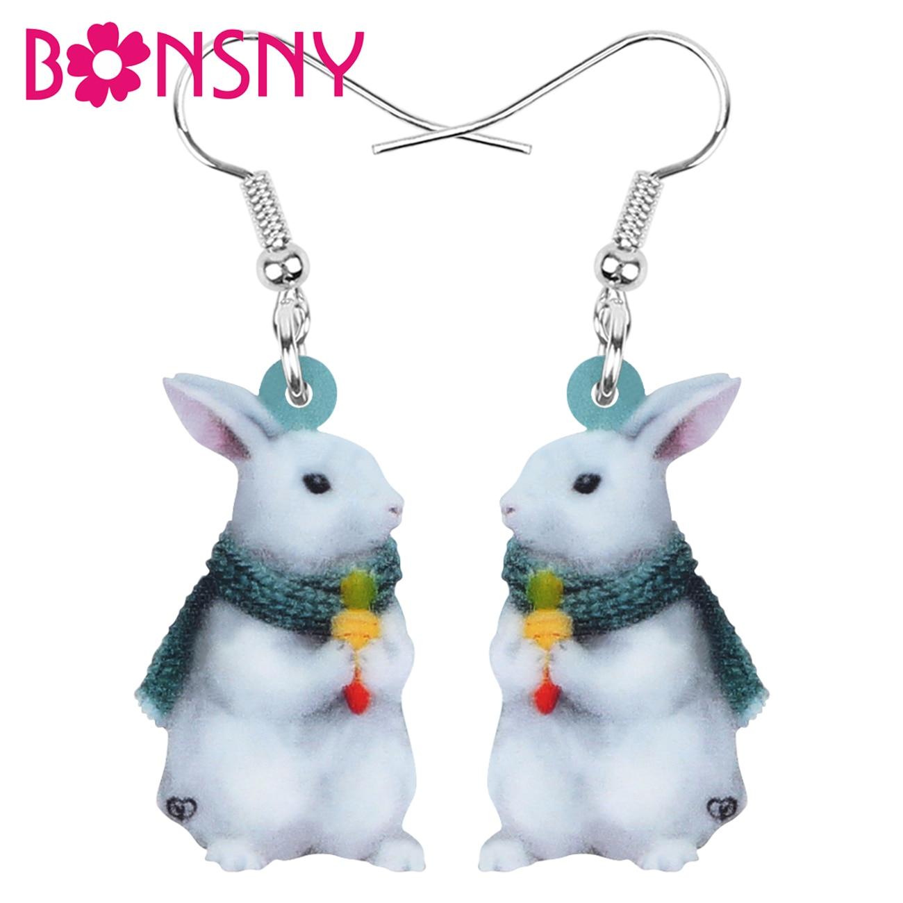 ARWA acrílico blanco conejo mascota pendientes encantador colgante de animal gota joyería para mujeres chica accesorio de regalo novedad