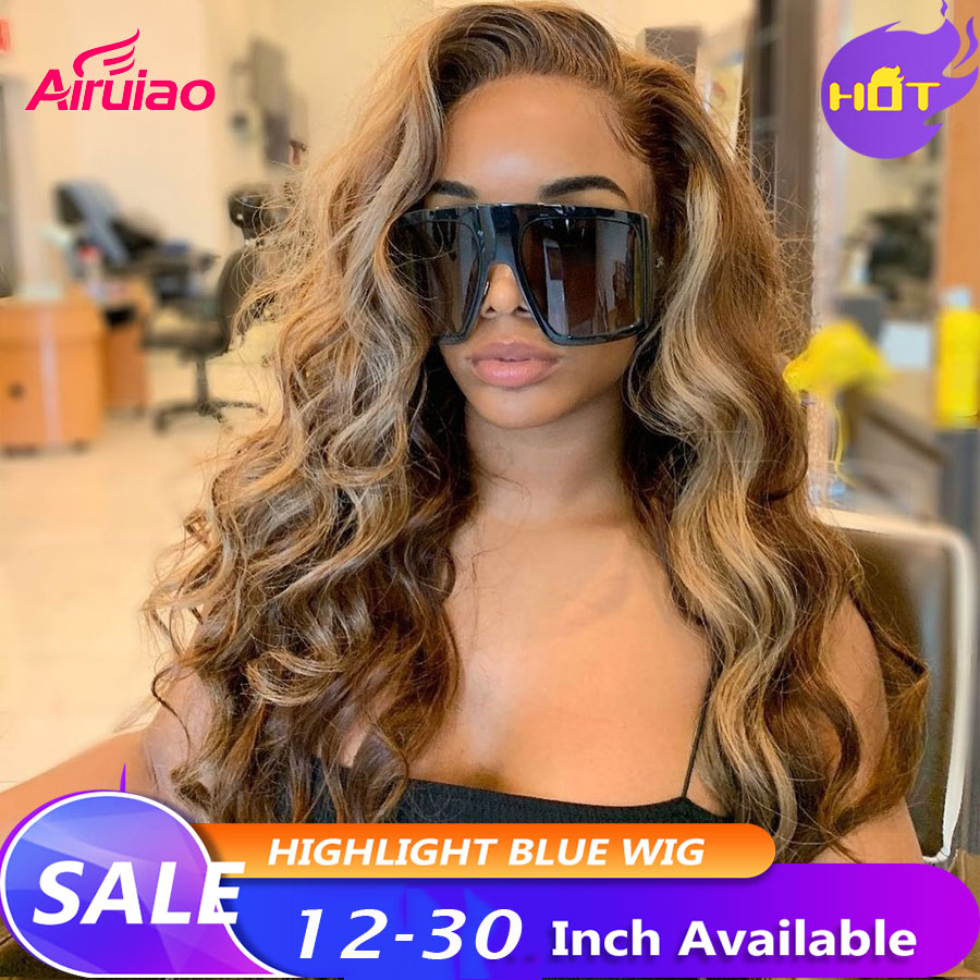 13x6 HD Lace Frontal Human Hair Wigs Highlight Honey Blonde Body Wave Full Colored Ombre 13x4 Lace Front Wig Woman Bleached Wavy