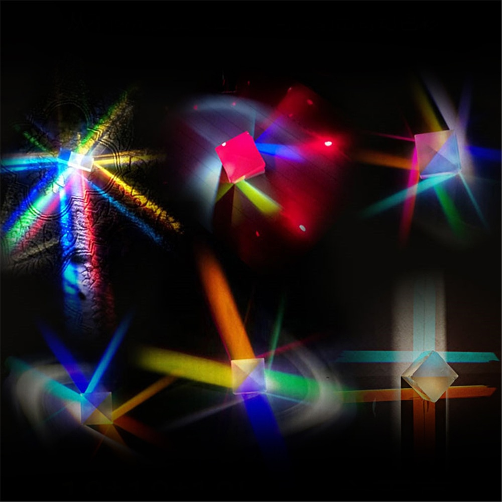 Rainbow Prism Six-Sided Laser Cube Bright Light Combine Prism Stained Glass Beam Splitting Prism Optical Experiment Instrument