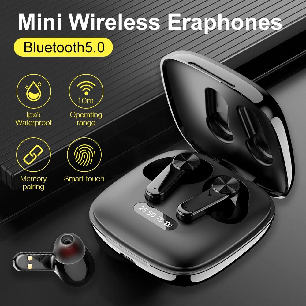 True Wireless Earphones Bluetooth5.0Headphones Touch Control with Charging Case IPX5 Waterproof Spor