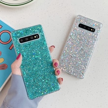 SUYACS-funda de teléfono con lentejuelas brillantes para Samsung Galaxy, carcasa trasera suave de epoxi para Samsung Galaxy S21, S20, S10, S8, S9 Plus, A51, A71, A21S, Note 10 Pro
