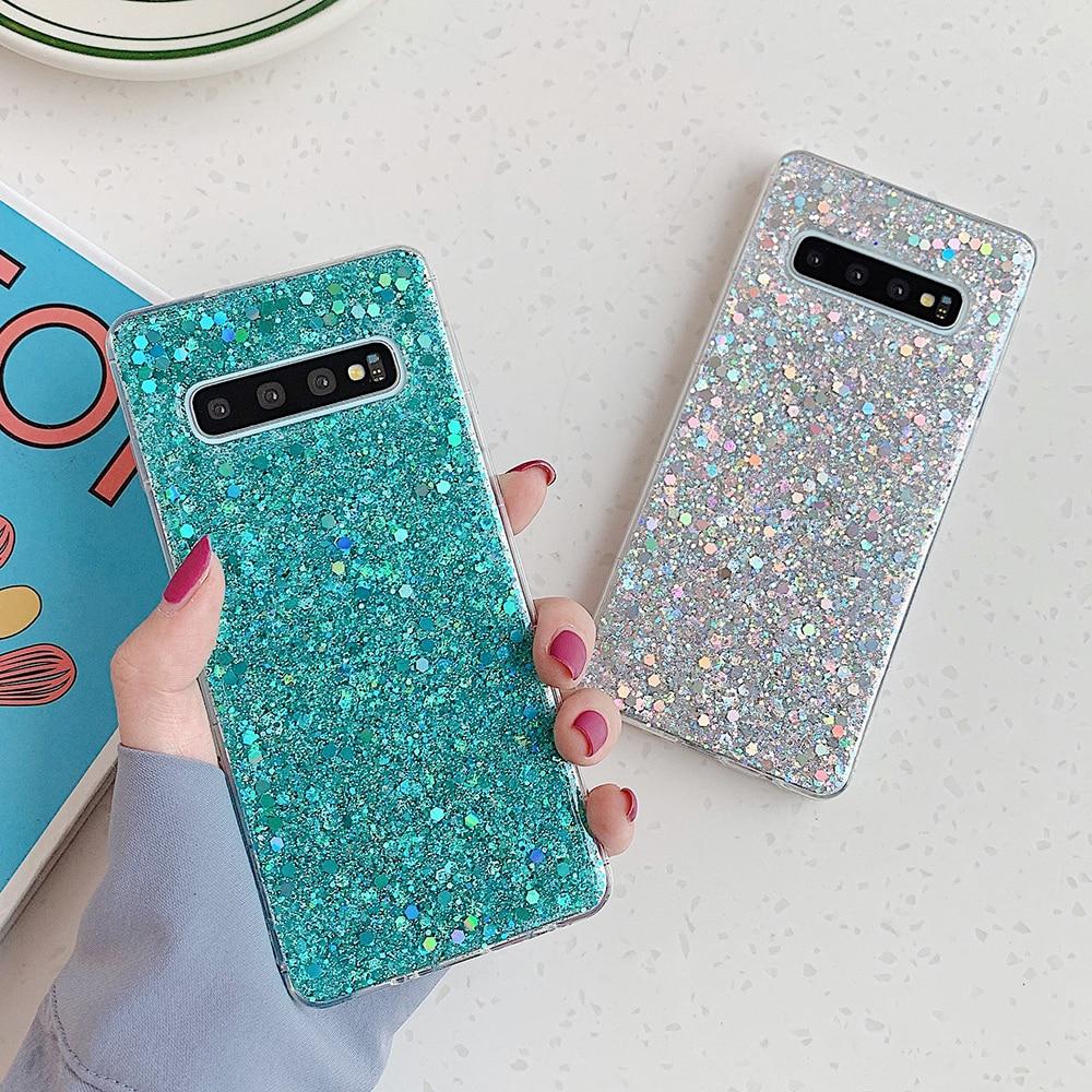 Capa de celular com glitter suyacs, para samsung galaxy s20 s10 s8 s9 plus a50 a70 a10 20 s note 10 capa traseira macia epóxi pro