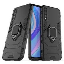 Étui pour Huawei Y8P antichoc en métal anneau de doigt armure magnétique housse de voiture pour Huawei Y8P Y8P AQM-LX1