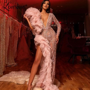 Illusion Deep V Neck Party Dress 2020 Dubai Beaded Evening Dress Sexy Prom Dresses Long Sleeves African Dress Robe De Soiree