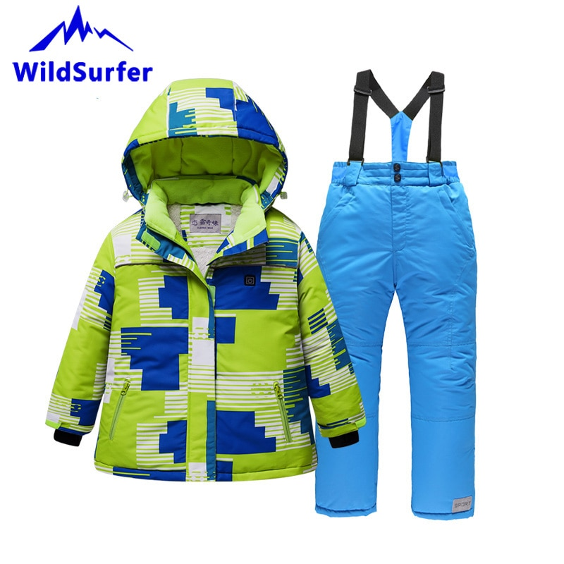 USB Heating Kids Skiing Suits Winter Boys Girls Windproof Keep Warm Ski Jackets and Pants Child Snowboard Suits Children W306