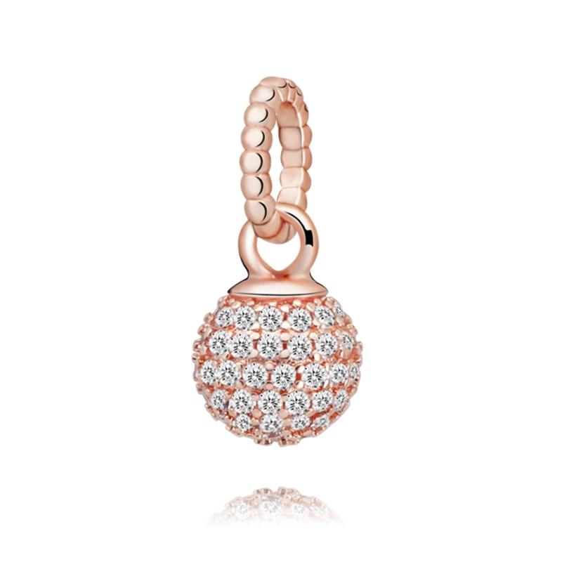 2020 nuevo de San Valentín 100% cuentas de plata esterlina 925 Pavé bola colgante encanto fit Original Pandora pulseras de las mujeres de la joyería de DIY