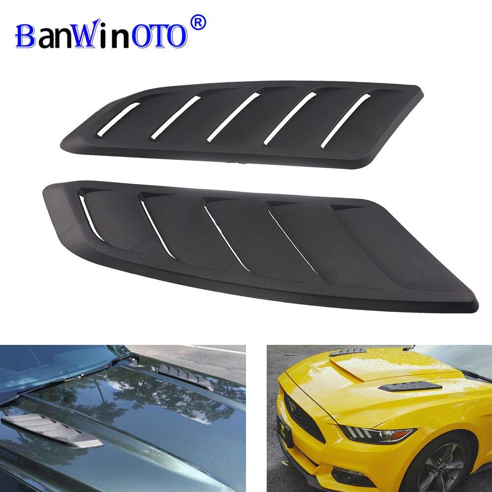Универсальный АБС-пластик, автомобильный воздухозаборник, капот, вентиляция, передний капот, вентиляция, подходит для Ford Mustang 2015-2017, панель, отделка, 2 шт.