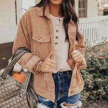 2021 Women's New Autumn Cardigan Fashion Simple Commuter Style Long Sleeve Retro Corduroy Pocket Str