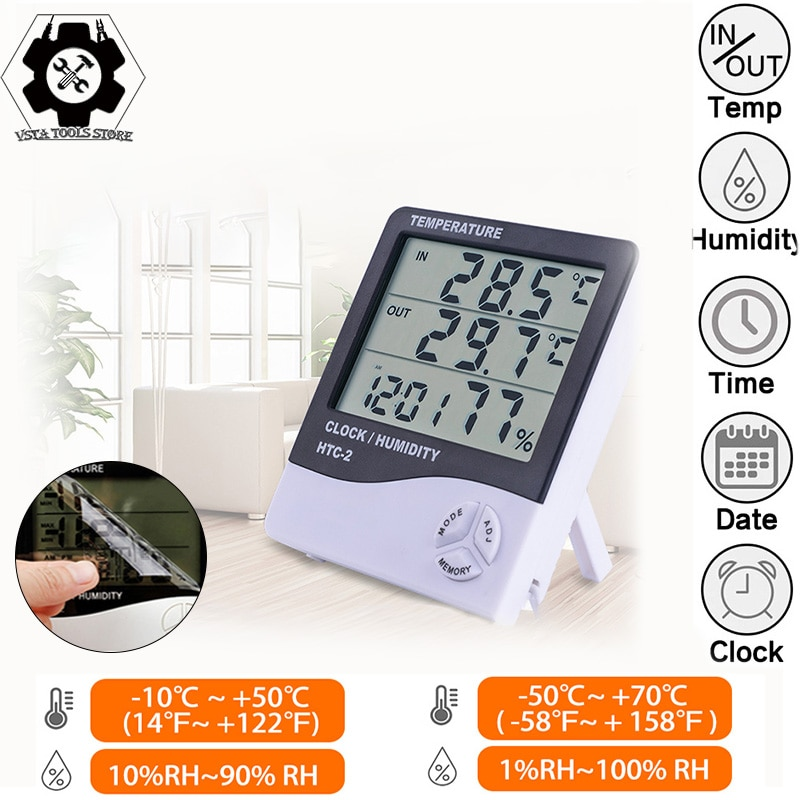 LCD Electronic Digital Temperature Humidity Meter Thermometer Hygrometer Indoor Outdoor Weather Station Clock HTC-1 HTC-2 htc 1 indoor room lcd digital electronic thermometer hygrometer measuring temperature humidity meter alarm clock weather station