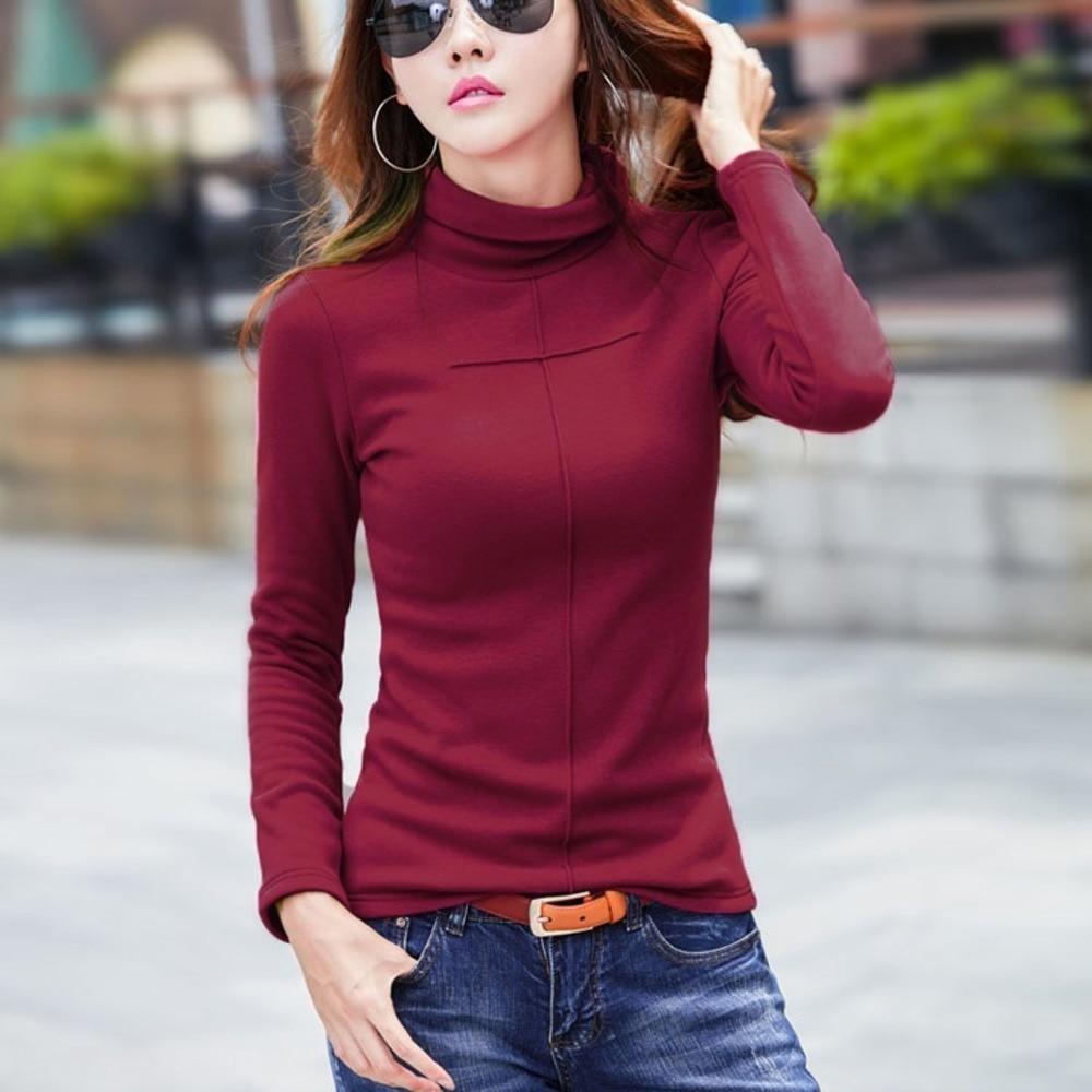 Moda suave estilo coreano invierno cuello alto para mujer ajustado básico manga larga Pull Femme tapas suéter femenino