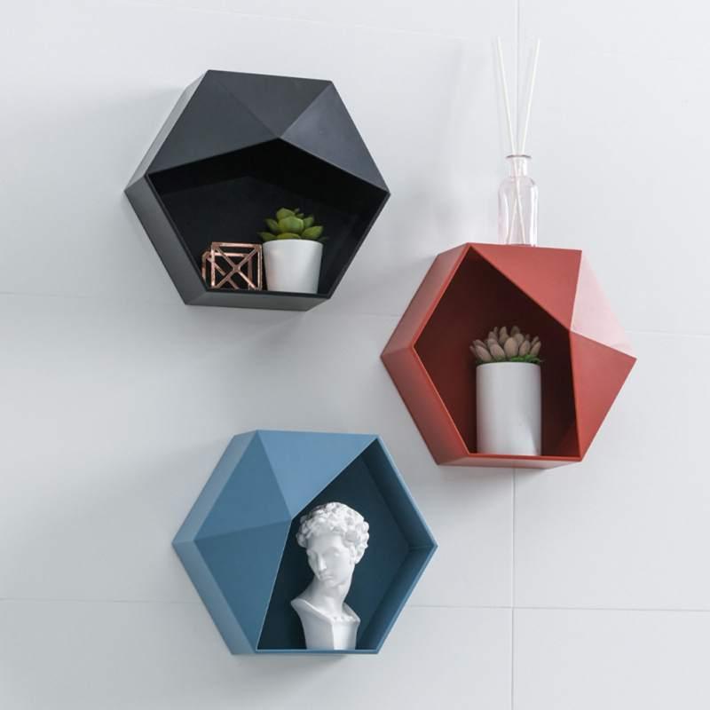 Estante hexagonal nórdico, sala de estar perchero colgante de pared para, soporte geométrico sin perforación para decoración de pared, organizador de estante para Baño