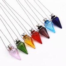 1PC Diamon shape Diffuser Perfume pendant Refillable Essential Oil Aromatherapy Colored glaze glass Bottle Pendant Necklace