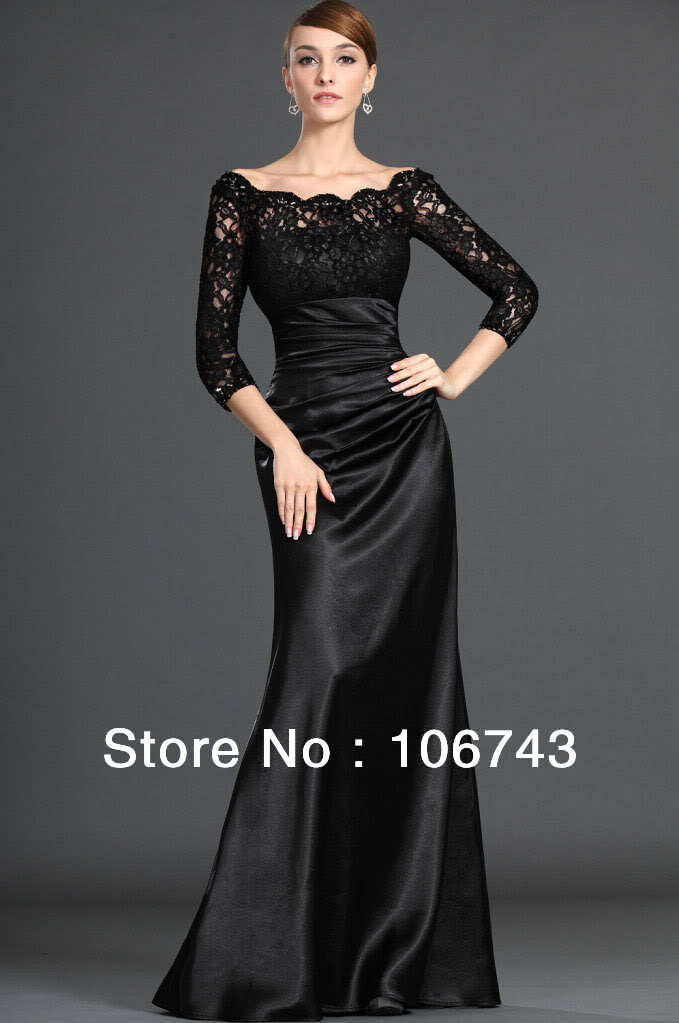 free shipping 2017 New Black Lace Long-Sleeves Prom gown floor length custom mermaid Bridesmaid Dres