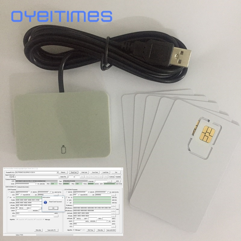 OYEITIMES 4G LTE SIM Card Reader Writer Programmer With 5PCS LTE Test SIM Card 1PC SIM Card Software XOR Milenage Free Shipping