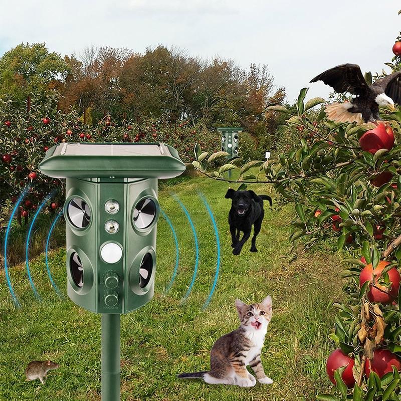 Repelente de animales de energía Solar multifunción impermeable antirrobo Sensor perro para exterior ratón serpiente canguro alarma Drive repelente