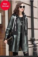 2020 italian fashion casual sheepskin windbreaker coat hooded fashion leather coat womens autumn