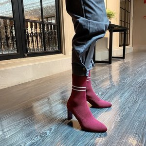 Stripe Knit Sock Boots Women Elasticity Cloth High Heel Ankle Boots Women Stretch Fabric Pointed Toe Boots White Black Red