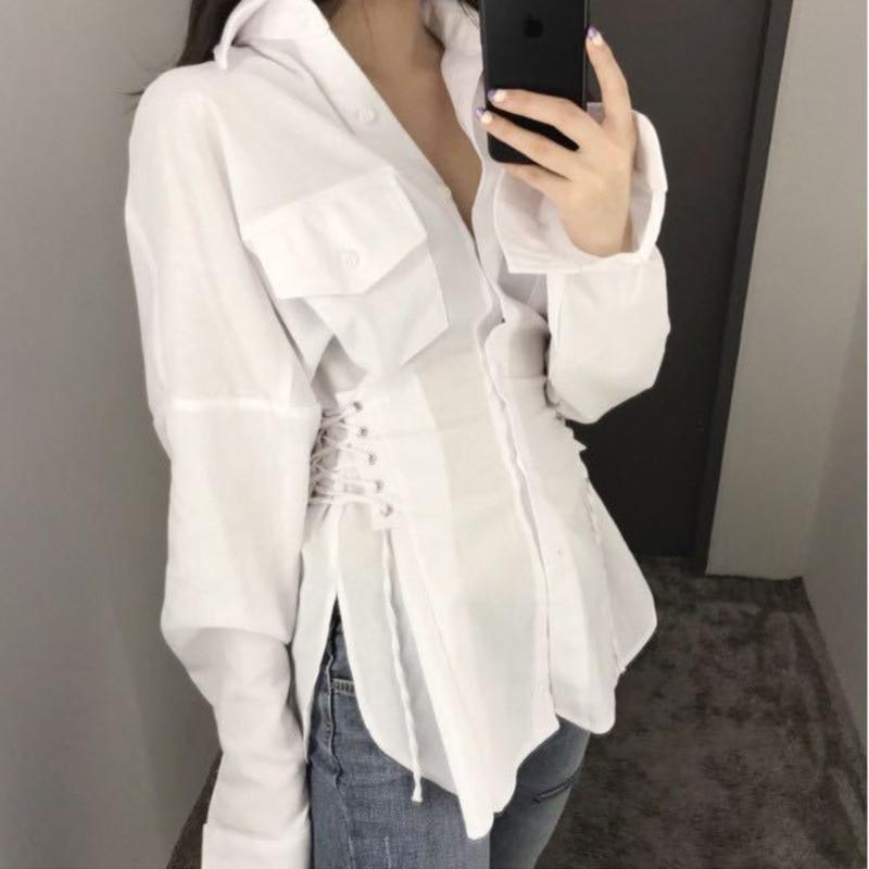 قميص نسائي طويل الأكمام من XUXI برقبة مستديرة ، قميص مع جيب وبلاكيت ، دانتيل ، مناسب للنساء لربيع خريف 2021 E822
