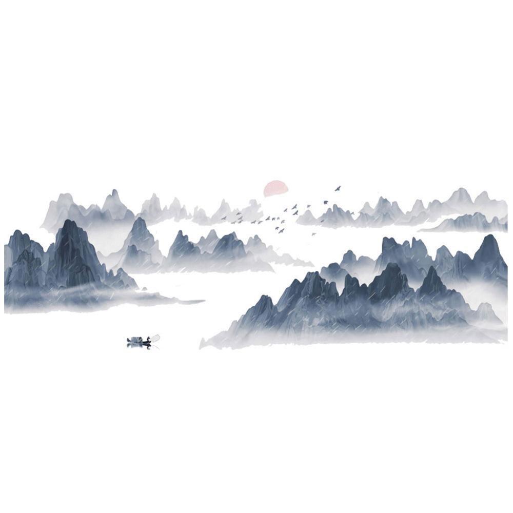 Pegatina de pared de paisaje de atardecer de estilo chino, papel tapiz de alta calidad, sala de estar mural para, dormitorio, fondo, pegatinas de decoración del hogar