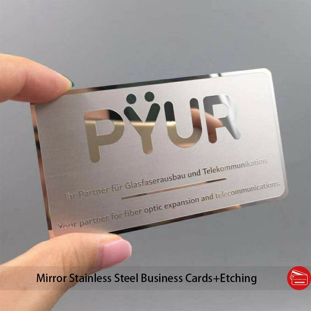 Custom luxury metal business card polished finish metal business card mirror effect surface