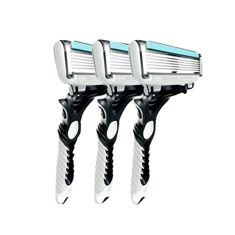 Novo pro 3 pçs/lote dorco ritmo 6 lâminas de barbear afiadas para homens barbear lâminas de barbear pessoal descartável segurança
