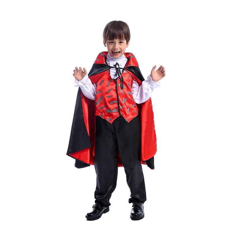 Traje Cosplay Para Crianças Dracula Vampiro assustador Príncipe Das Trevas Dress Up Halloween Costume For Kids Festa de Carnaval Terno