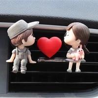 lovely couple girl boy car air vent freshener essential oil perfume clip scent aromas diffuser decor auto interior accessories