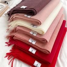 New Winter Warm Solid Color Soft Cashmere Scarves Shawls And Wraps Bandana Female Foulard Tassel Sha