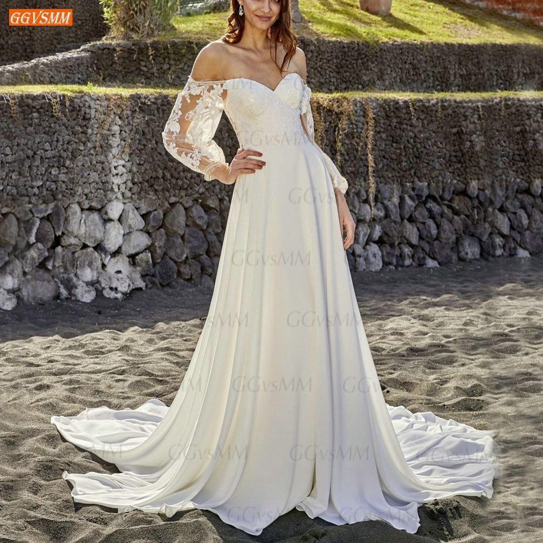 Review White Chiffon Wedding Gowns Cap Long Sleeves Bridal Dresses Lace Appliqued Sexy 2021 Robe De Mariée Custom Made Свадебное Платье