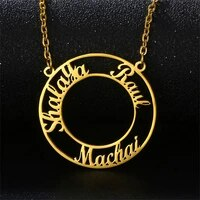 custom round name necklaces for women customized stainless steel personalized 2 3 name charms nameplate pendant necklace jewelry