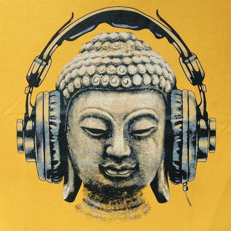 DJ Buda auriculares música Club de hombres camiseta de trance goa techno hip hop tee S-XL