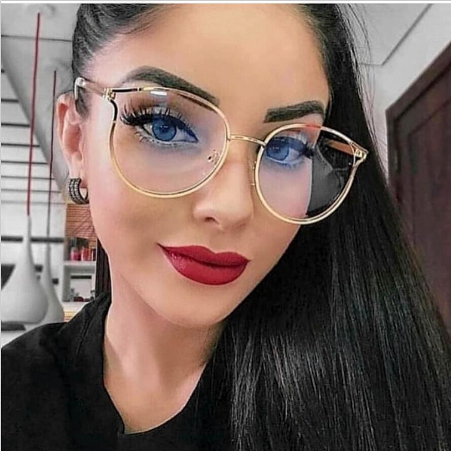 Monturas de gafas redondas TR90 de Ojos de gato para mujer, montura de gafas ópticas graduadas de Metal fino para miopía y presbicia F0219