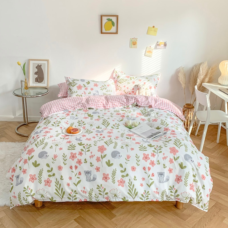 Pastoral Printed Bedding Set Home Adult Flat Bed Sheet Duvet Cover Set With Pillowcases Flowers Pattern Quilt Covers Bedclothes
