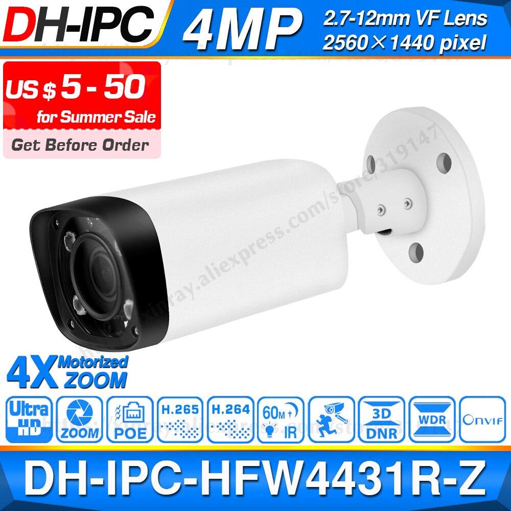 Dahua IPC-HFW4431R-Z 4MP Ночная камера 60 м IR 2,7 ~ 12 мм VF объектив с автофокусом, ip-камера POE безопасности