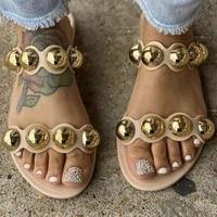 2020 summer metal decoration women flat slippers platform peep toe fashion beach outdoor female ladies shoes zapatos de mujer