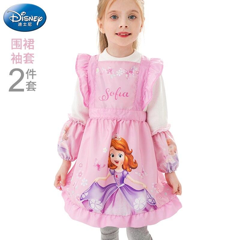 فستان أميرة ديزني صوفيا للأطفال ، مريلة مقاومة للماء ، ملابس رسم ، رياض الأطفال ، مريلة بأكمام