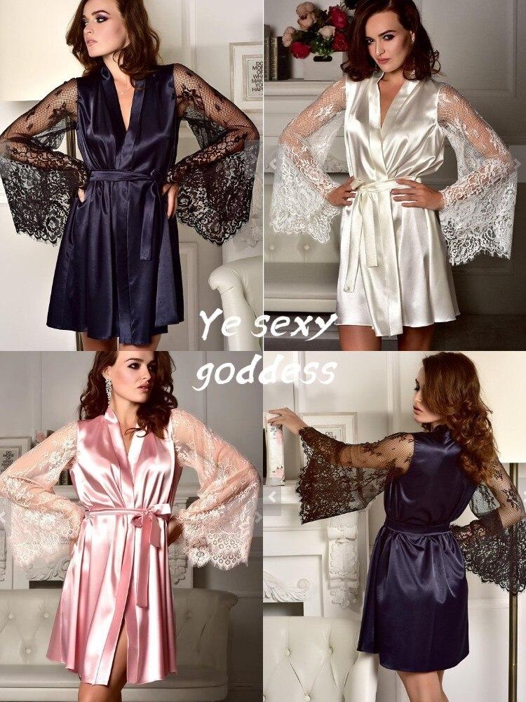 brand new silk satin women robe New Silk Kimono Robe Bathrobe Women Silk Bridesmaid Robes Sexy Navy Blue Robes Satin Robe Ladies Dressing Gowns