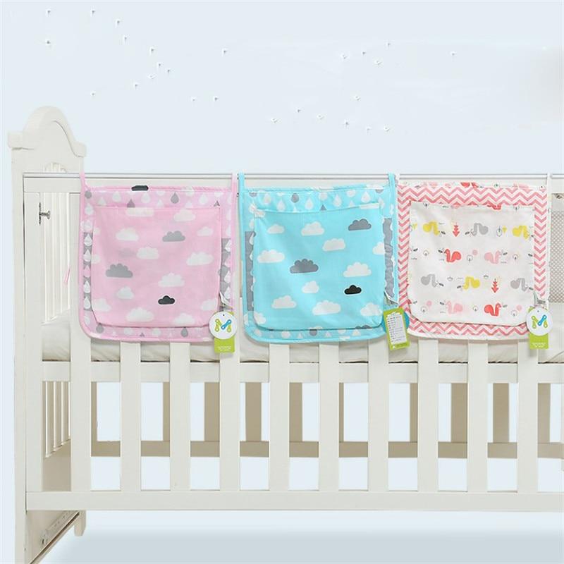 30*30cm Bed Hanging Storage Bag Baby Crib Bed Baby Cotton Crib Organizer Toy Diaper Pocket For Crib Bedding Set